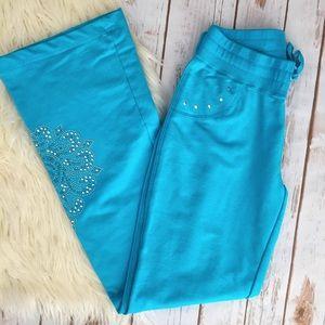 BCBG MaxAzria bright blue bling lounge pants
